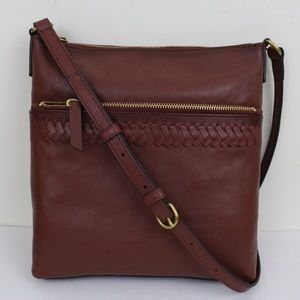 Frye Cognac Whipstitch Leather Crossbody Bag Zip